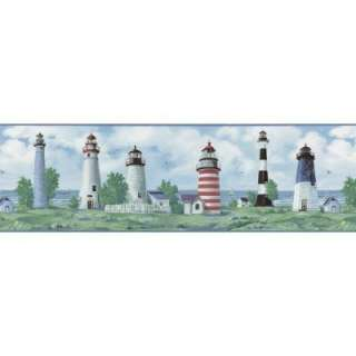 The Wallpaper Company 8 in X 10 in Blue Lighthouse Border Sample