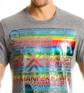 Armani Exchange Multiple Logo T Shirt Heather Grey NWT