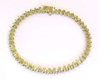 Diamond / 10KT Solid Yellow Gold Tennis Link Bracelet ~ 7 1/4 x 5.5mm