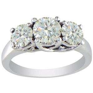 Real 1.50Ct Big Round Cut Diamond White Gold 3 Three Stone Anniversary