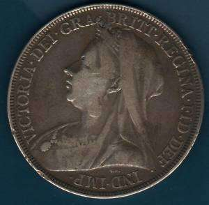 1897 GREAT BRITAIN QUEEN VICTORIA SILVER CROWN COIN