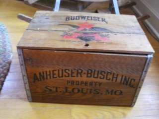 Budweiser Beer Wood Wooden Checkerboard Checkers Game Board Crate Box
