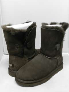 NEW WOMEN UGG BOOT BAILEY BUTTON CHOCOLATE 100% AUTHENTIC IN ORIGINAL