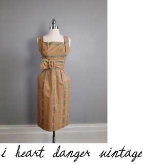 Vtg Alfred SHAHEEN 50s Dress & Bolero jacket tiki pin up metallic