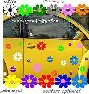 flowers daisy hippy wall VW bug beetle car volkswagon