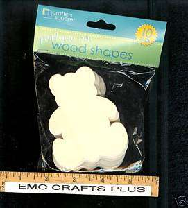 UNPAINTED DIE  CUT WOOD SHAPES   TEDDY BEAR.10 PC