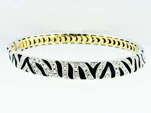 Roberto Coin 18K White Gold Diamond Onyx Zebra Bangle Bracelet