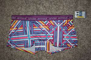 ARMOUR® Womens UA Mesh Boy Shorts Underwear Purple w/ Bright Stripes