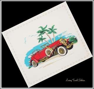 RARE VINTAGE SPORTS CAR FABRIC PANEL #B (11 X 13)