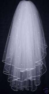 3T White / Ivory Bridal Wedding Veil Comb Pearl comb