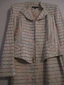 Vintage, BANU Paris, suit cream w/ multi color pattern!