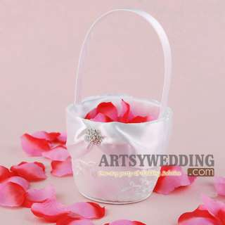New White Satin & Lace Rhinestoned Wedding Flower Girl Basket Favors w
