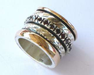 Sterling Silver Gold GARNET Ring Jewelry Spinning Bands
