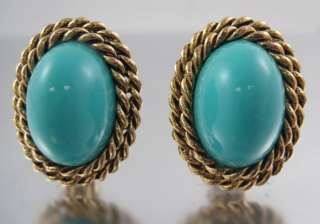 KENNETH LANE Gold Tone Turquoise Resin Earrings