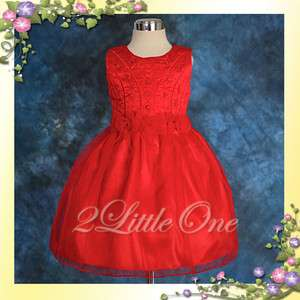 Red Wedding Flower Girl Pageant Party Dress Size 7 8