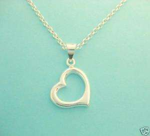 Sterling Silver Heart Love Charm Necklace Floating 18