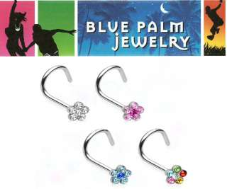 20g Flower CZ Nose Steel Screw Ring 4 colors N17