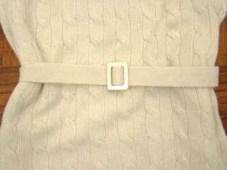 Ralph Lauren Cream Wool Cashmere Blend Knit Belt Sweater Dress Medium