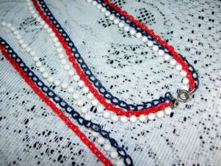 /Opera Length Vintage Red White and Blue 3 Strand Necklace 46