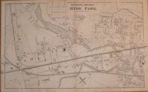 1876 Antique Map South Hyde Park Boston Mass MA Old