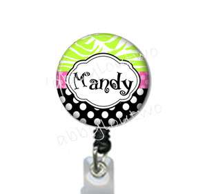 Retractable ID Badge Holder Reel Personalized with your Name