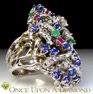 Antique Hand Made 14K White Gold Diamond Emerald Sapphire Ruby Twig