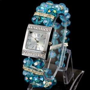 Wholesales Fashion Blue Beads Lady Womens Quartz Jelly Wrist Watch