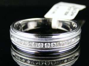 14K MENS WHITE GOLD DIAMOND WEDDING BAND RING 1/4 CT