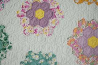 Lg. 30s Grandmothers Flower Garden Antique Quilt ~WOW