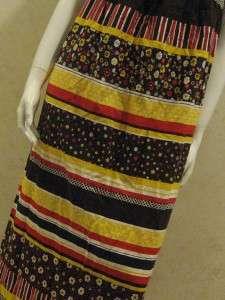 Vtg Brady Bunch Style Maxi Dress Brown Multi Patterns