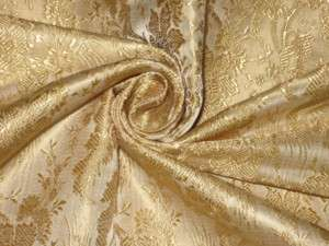 100% Pure Silk Brocade Fabric Light Gold Victorian 44