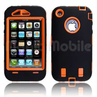 Hard Case w/ Soft Skin Rubber Silicone Cover For iPhone 3G 3GS Black