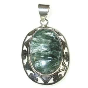 Oval Seraphinite and Sterling Silver Pendant