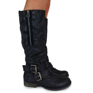 B1C LADIES WOMENS BLACK BIKER ZIP DETAIL KNEE HIGH LENTH RIDER ARMY