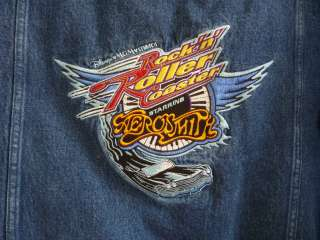Rockin Roller Coaster Aerosmith Denim Jacket S Unisex Adult