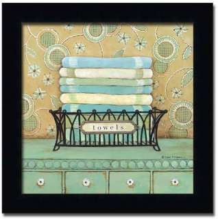 Towels Bath Laundry Room Decor Sign Art Print Framed