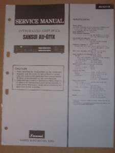 Sansui Service/Repair Manual~AU G11X Amplifier Amp