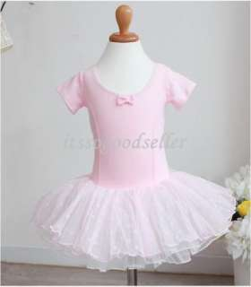 Leotard Ballet Tutu Costume Dance Skirt Dress 2 7Y Pink Black