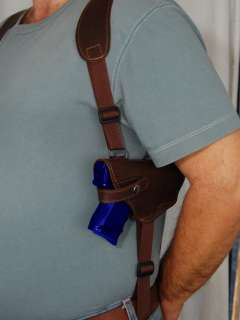 BarsonyBrown Leather Shoulder Holster w/Double Magazine for GLOCK 19