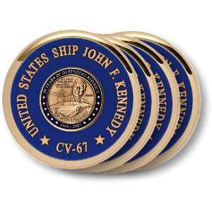 USS John F. Kennedy Coaster Brass 4 Coaster Set