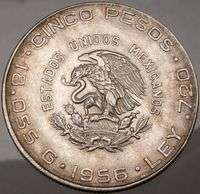 1956 Hidalgo father of MEXICO5 PESO Mexican Silver Coin