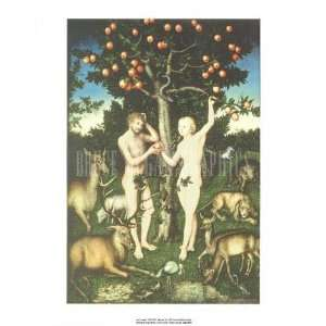 Adam and Eve by Lucas Cranach (the Elder) . Art Print
