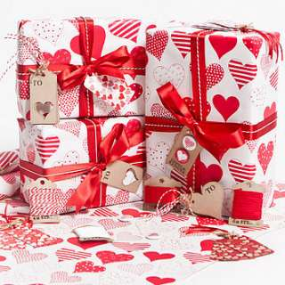 recycled love hearts white gift wrap set by sophia victoria joy