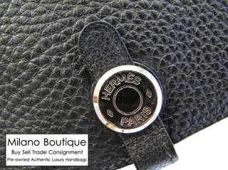 Authentic HERMES Black Togo Leather Dogon Hip Waist Belt Bag