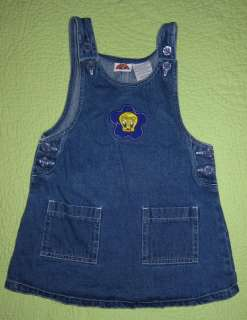 Girls TWEETY BIRD Denim Jean Jumper DRESS Sz 3T