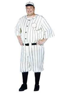 Adult Plus Size Old Time Baseball Player   Historical Sports Costumes