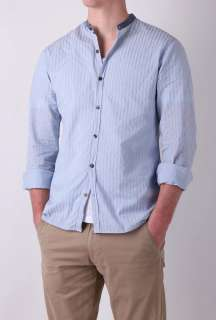 Blue Stripe with Chambray Collarless Shirt by Day Birger et   Blue