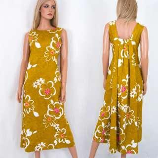 Vtg 60s KAMEHAMEHA draped back MOD HAWAIIAN Hostess Dress Maxi Long