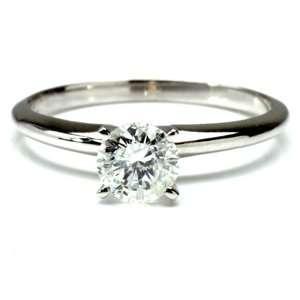 Carat Round Diamond 14k White Gold Solitaire Engagement Ring Jewelry