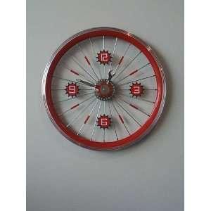 Art4Kids 98207 Bike Wheel Clock  with red rim